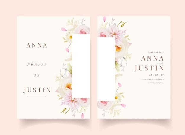 Convite de casamento com aquarela rosas dália e peônia branca