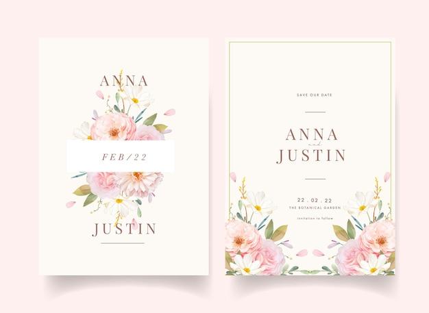 Convite de casamento com aquarela rosas e dália
