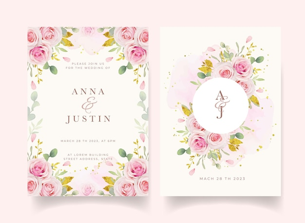 Convite de casamento com aquarela rosas e enfeites de ouro