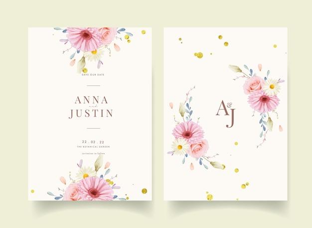 Convite de casamento com aquarela rosas e gérbera