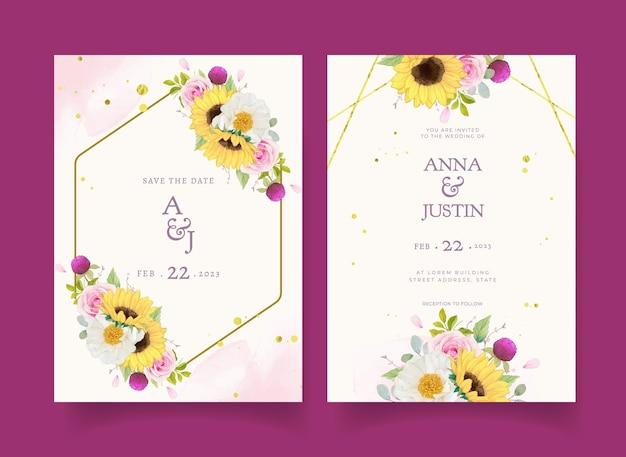 Convite de casamento com aquarela rosas e girassol
