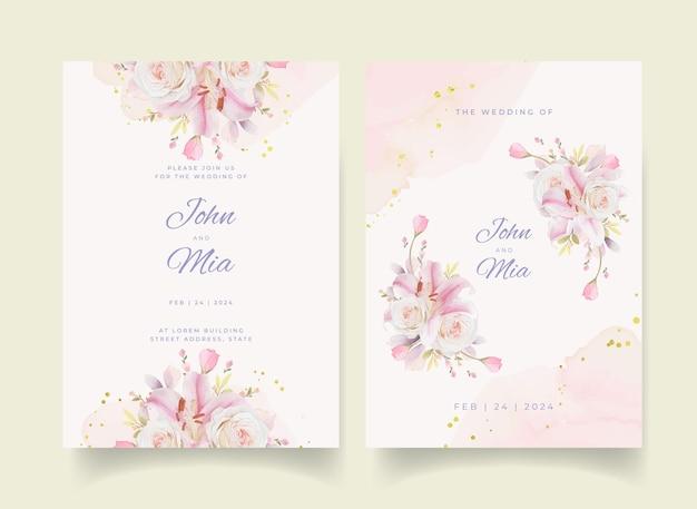 Convite de casamento com aquarela rosas lírio e flor dália