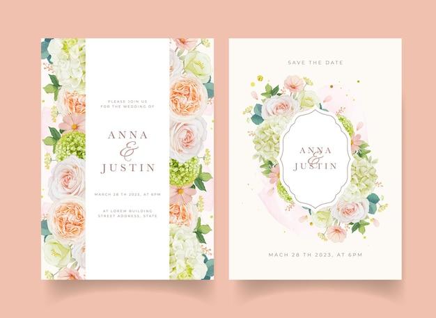 Convite de casamento com aquarela rosas pêssego e flor de hortênsia