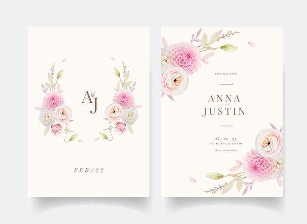 Convite de casamento com aquarela rosas ranúnculo e dália