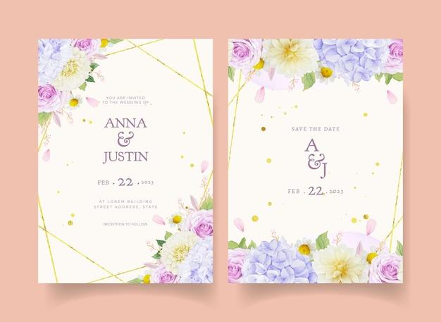 Convite de casamento com aquarela rosas roxas dália e flor de hortênsia