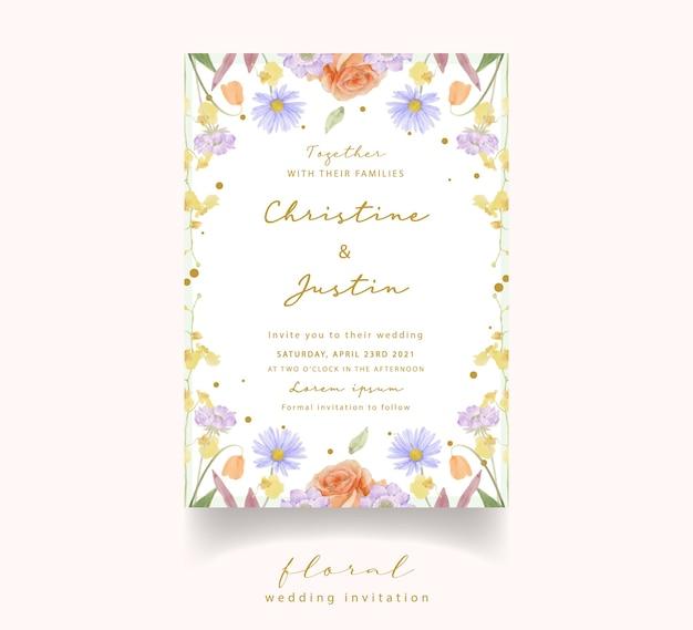 Convite de casamento com aquarela rosas, tulipas e flores scabiosa Vetor Premium