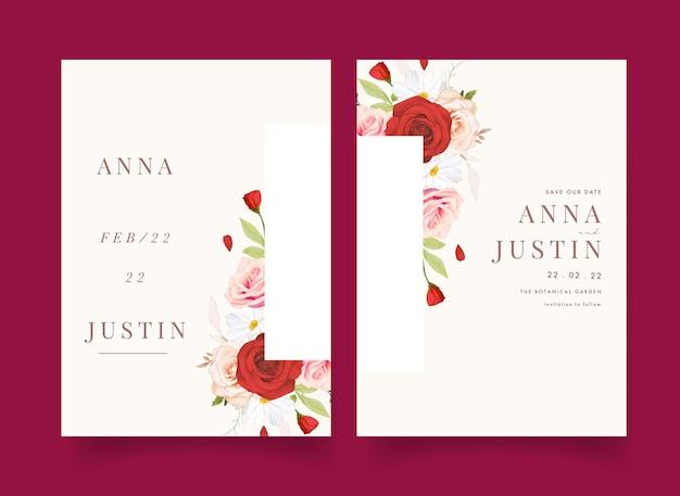 Convite de casamento com aquarela rosas vermelhas e rosa