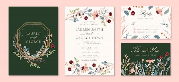 Convite de casamento com aquarela selvagem ramos florais