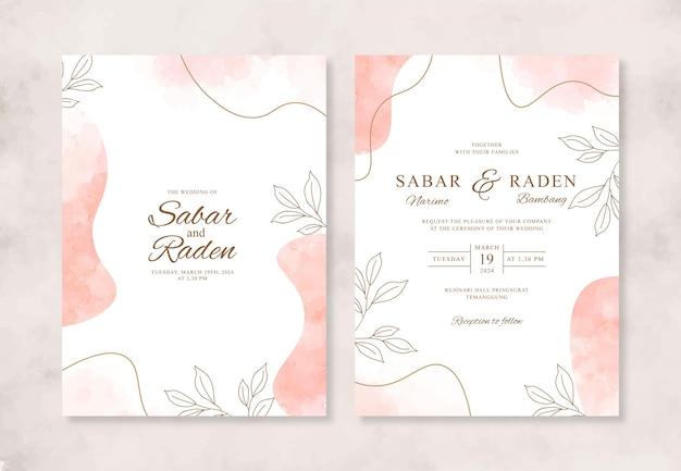 Convite de casamento com aquarela splash e desenho à mão
