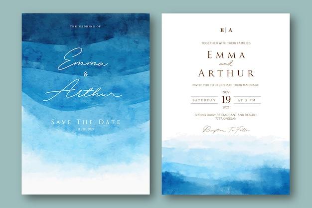 Convite de casamento com aquarelle azul oceano