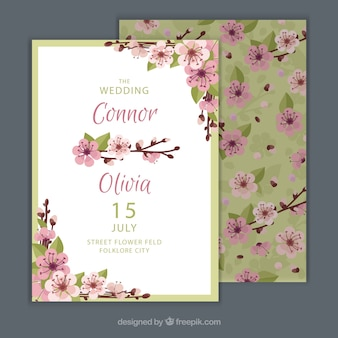 Convite de casamento com belas flores