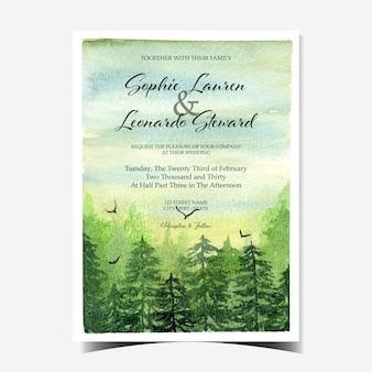 Convite de casamento com belas paisagens e floresta verde