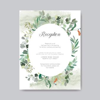 Convite de casamento com belos temas florais