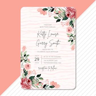 Convite de casamento com borda aquarela linda flor