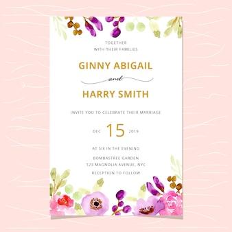 Convite de casamento com borda floral aquarela bonita