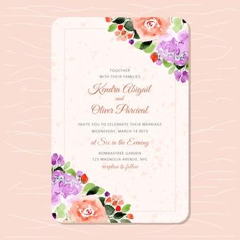 Convite de casamento com bordas aquarela muito florais