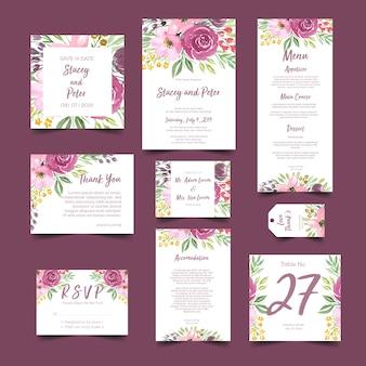 Convite de casamento com buquê de flores em aquarela