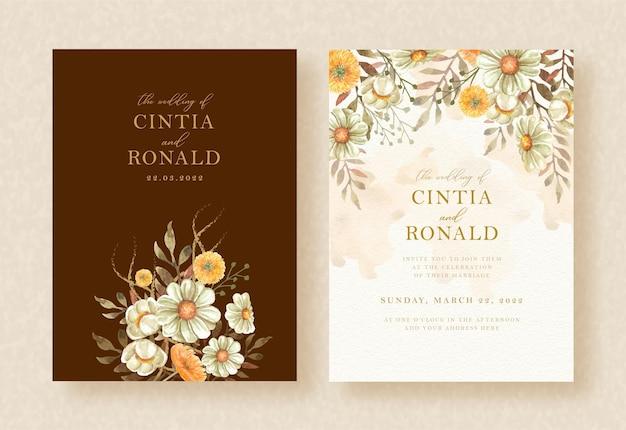 Convite de casamento com buquê de flores em fundo de molduras marrons