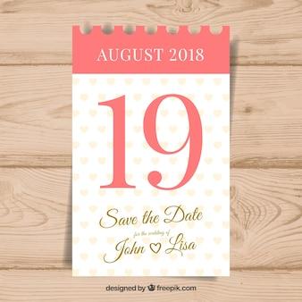 Convite de casamento com calendário clássico