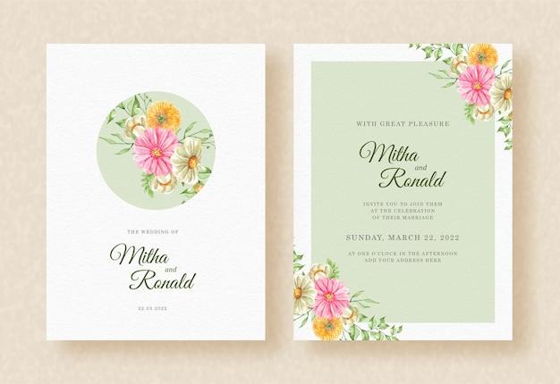 Convite de casamento com canto do buquê de flores e fundo de quadros