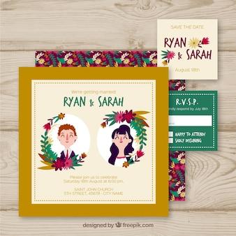 Convite de casamento com casais fofos