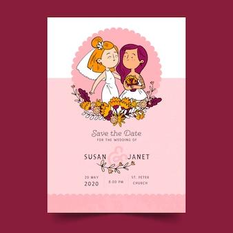 Convite de casamento com casal de desenho animado