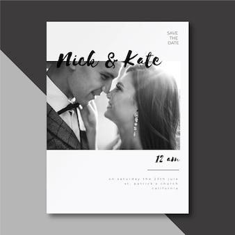 Convite de casamento com casal fofo