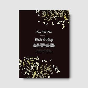 Convite de casamento com contorno minimalista desenhado à mão