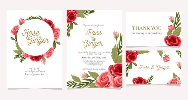 Convite de casamento com coroa de flores rosa vermelha