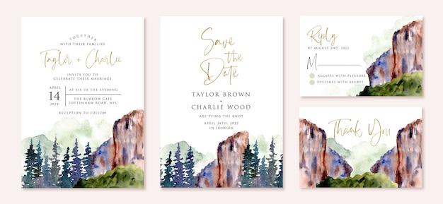 Convite de casamento com desenho em aquarela de paisagem de desfiladeiro