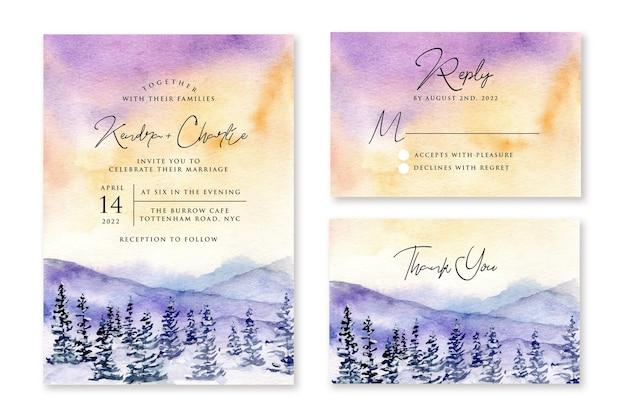 Convite de casamento com desenho em aquarela de paisagem de inverno