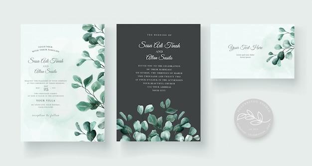 Convite de casamento com design de decoração linda flor