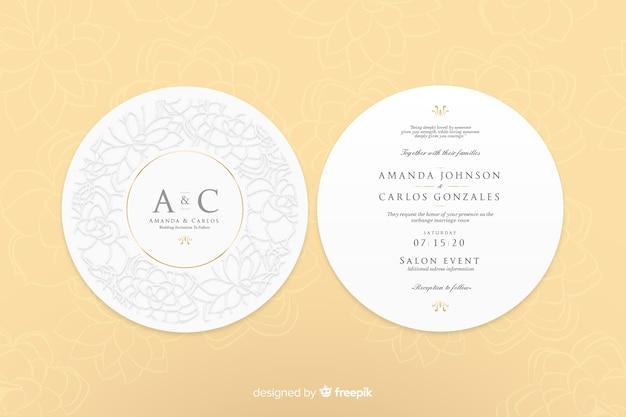 Convite de casamento com design simples