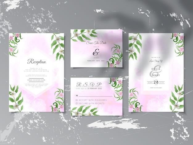 Convite de casamento com elegantes folhas e flores
