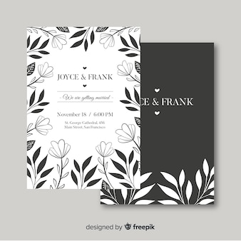 Convite de casamento com elementos florais
