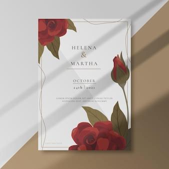 Convite de casamento com enfeites de rosas