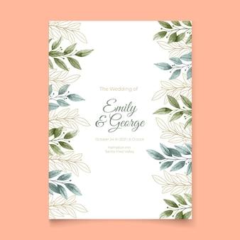 Convite de casamento com enfeites florais