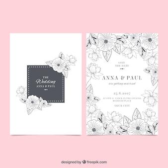 Convite de casamento com esboços de flores