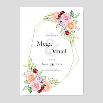 Convite de casamento com estilo aquarela de fundo floral