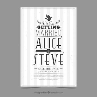 Convite de casamento com estilo retro