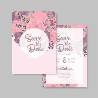 Convite de casamento com flor colorida