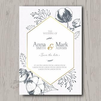 Convite de casamento com flor de algodão mão desenhada