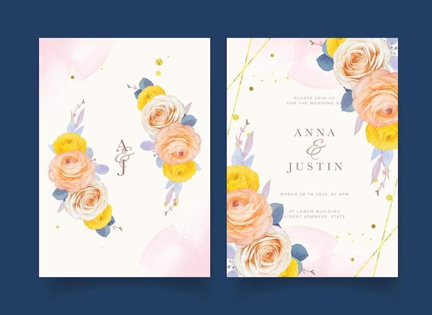 Convite de casamento com flor de ranúnculo em aquarela
