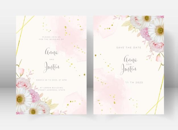 Convite de casamento com flor rosa aquarela e gerbera branca