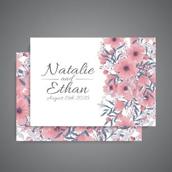 Convite de casamento com flor rosa