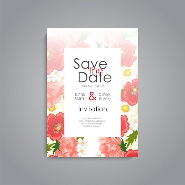 Convite de casamento com flor vermelha