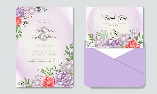 Convite de casamento com floral bonito e elegante