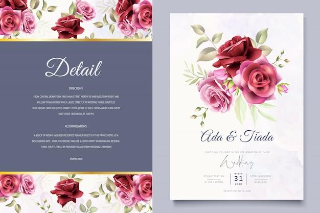 Convite de casamento com floral lindo