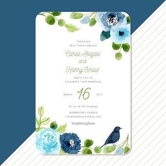 Convite de casamento com floral verde azul