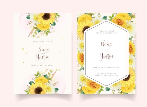 Convite de casamento com flores amarelas em aquarela